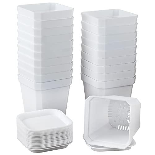 Macetas de 7 x 7 x 8 cm, 20 unidades de macetas gruesas con bandeja, macetas cuadradas de plástico (20, 7 x 7 x 8)