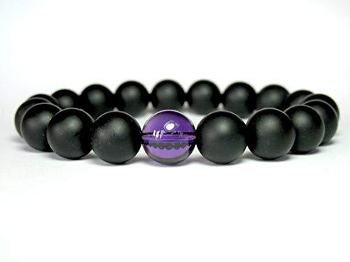 LOVEKUSH Galaxy Jewelry - Pulsera redonda de ónix mate y amatista elástica de 10 mm, color negro y morado, 19 cm, para hombres, mujeres, gf, bf y adultos.