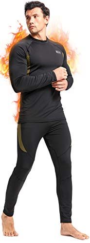 Romision Thermal Underwear for Men, Long Johns Base Layer Fleece Lined Top and Bottom Set for Cold Weather