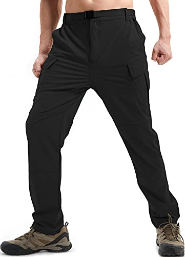 DAFENP Pantalon de Travail Cargo Homme Elastique Pantalon Randonnee Homme Ete Pantalon Montagne Outdoor Séchage Rapide Leger KZ511M-Black-S