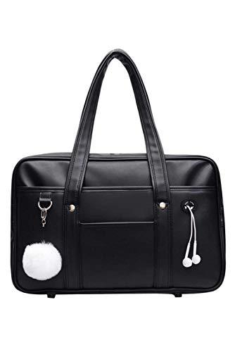Bolsa de escuela japonesa para estudiantes de escuela secundaria de PU - cuero negro JK uniforme bolso