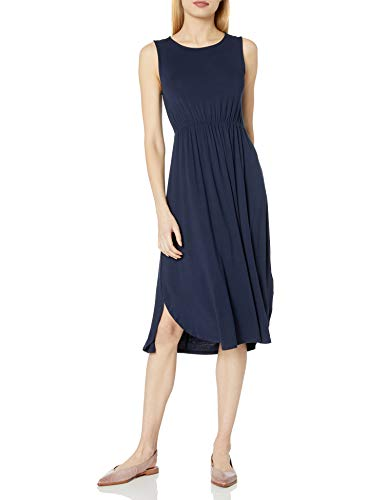 Daily Ritual Women's Jersey Standard-Fit Sleeveless Gathered Dress, Navy, Medium