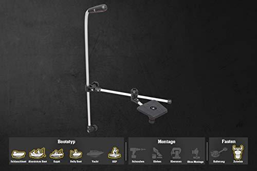 Fasten Echolot-Halterung mit Verstellbarer Geberstange und Plattform (100 mm x 100 mm), Farbe:schwarz/alu-Silber