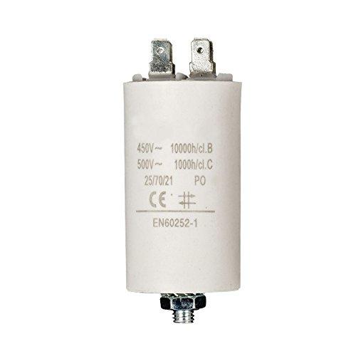 Xenterio Motorkondensator mit Anschlusskabel und Gewinde M8, 20µF, 450V, 50-60Hz, 40x120mm, komplett mit Mutter