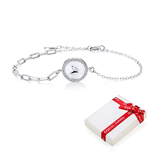 Pulsera de mariposa de plata 925 para damas niñas adolescentes mujeres dijes circonita pulsera de felicidad, ajustable tierna mariposa amor pulseras simples regalos para novia cumpleaños de Navidad