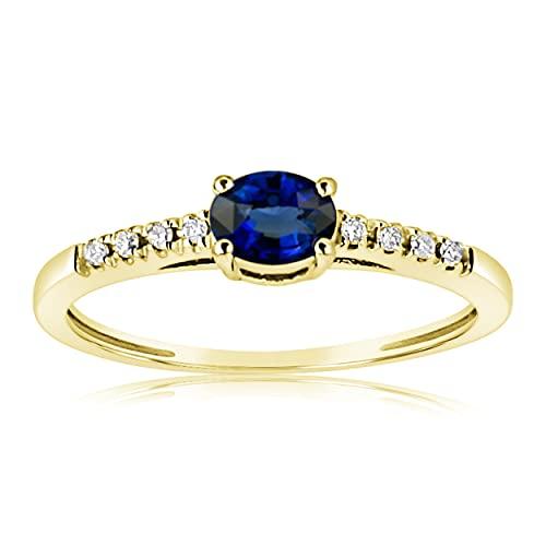 MILLE AMORI ∞ - Anillo de compromiso para mujer, oro de zafiro natural y diamantes, oro amarillo de 9 quilates, 375 zafiro natural 0,30 quilates, diamante 0,05 ct ∞ (48)