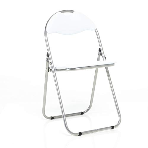 Bravich White Padded Folding Chair | Comfortable Seat Office Reception Foldable Desk Chairs Easy Storage Backrest, 43.5 x 46 x 79.5 cm