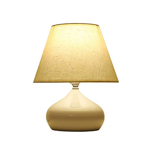 KGDC lámpara de mesita de Noche Cabecera del Estilo lámpara de Mesa Moderna, lámpara de Escritorio Linda con Tela Blanca Sombra for Sala Dormitorio Hierro Forjado lámpara de Mesa lámpara Decorativa