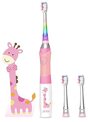 Seago SG977 - Cepillo de dientes eléctrico para niños, con temporizador, luz parpadeante, ultrasónica, cerdas suaves, cepillo de dientes sónico, para niños y niñas, color rosa