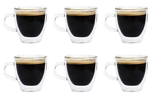 Maxxo Vasos de Doble Pared Ristretto 6X 80 ml Copas de Vidrio Térmico Resistente al Calor y Frío Tazas con Efecto Flotante para Té y Café
