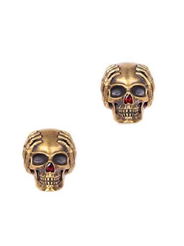 Manschettenknöpfe mit Totenkopf-Motiv, handgefertigt, Messing Metall, antikes Gold, Vintage-Manschettenknöpfe, Totenkopf-Manschettenknöpfe