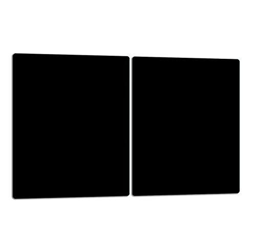 TMK | Herdabdeckplatten ceranfeld 2 Teilig 40x52 cm | Ceranfeldabdeckung Küche Elektroherd Induktion | Herdschutz Spritzschutz | Glasplatte Schneidebrett | Schwarz