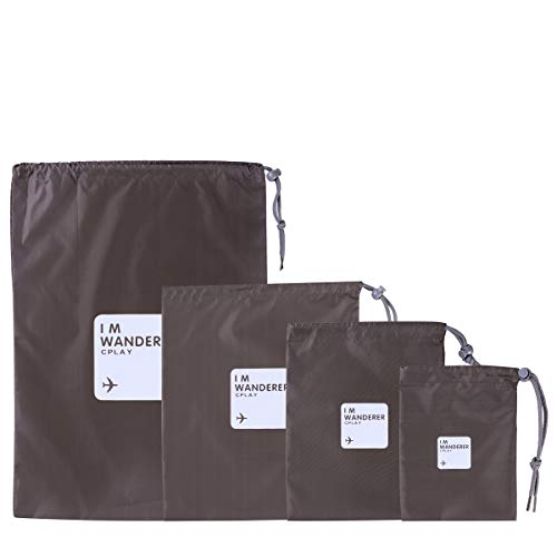 VORCOOL Outdoor Waterproof Storage Bags Travel Nylon Drawstring Pouches Organizers in Different Sizes 4pcs Olive Green