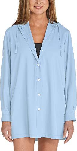 Coolibar UPF 50+ Women's Iztapa Beach Shirt - Sun Protective (XX-Large- Light Blue)