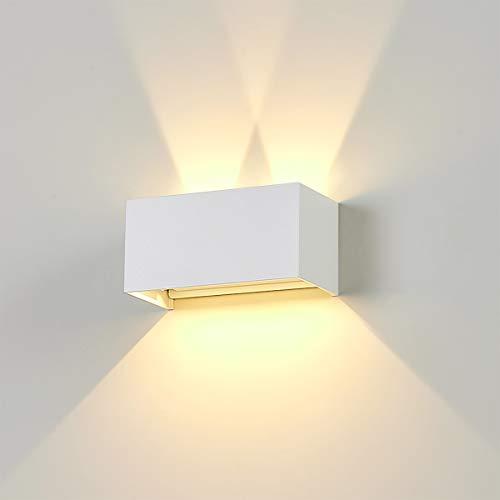 Dr.lazy 20W Apliques Pared LED 3000K 1600LM, Lámpara de Pared Interior, Apliques Pared Exterior Impermeable IP65, Aplique de Pared Moderna de Angulo de Haz Ajustable (Blanco/Blanco Cálido)