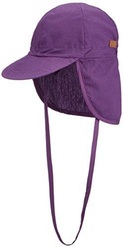 Melton Mädchen Sommerhut mit Schirm und Nackenschutz UV 30+, Uni Kappe, Violett (Mauve 732), 53