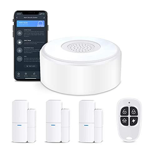 AGSHOME Alarma para Vivienda con Mando a Distancia, 3 Ventanas y Alarma de Puerta, 1 Mando a Distancia, Ampliable, Sistema de Alarma de Puerta, App Alarma a través de la Red móvil (Juego de 5 Piezas)