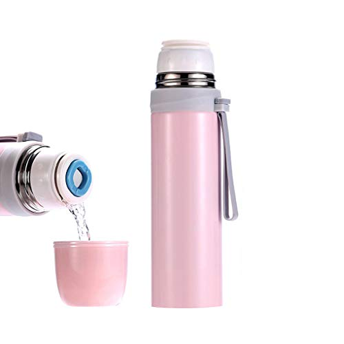 SXSHYUMO Thermosflasche Mit Druckknopf Doppelwandige Edelstahl Isolierflasche Auslaufsicher, Mobiler Kaffeebecher, Isolierbecher, Pink