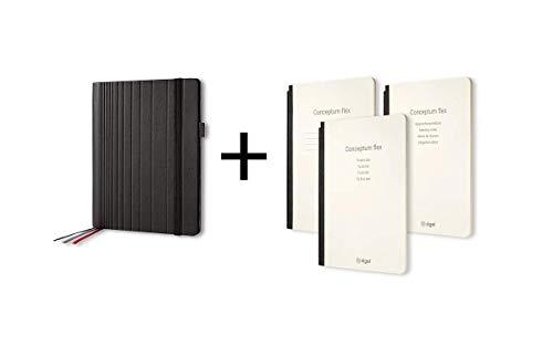 SIGEL CF131 Carpeta, Portafolios, 18,5x23x3 cm, polipiel, negro con juego de 3 cuadernos - Conceptum flex