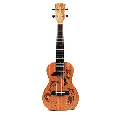YUTRD ZCJUX Profesional Sapele Dolphin patrón Ukelele Guitarra Cuello de Caoba Delicada Clavija de afinación 4 Cuerdas Ukelele de Madera Regalo