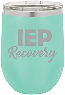 12 oz Double Wall Vacuum Insulated Stainless Steel Stemless Wine Tumbler Glass Coffee Travel Mug With Lid IEP Recovery Special Education Teacher (Teal)