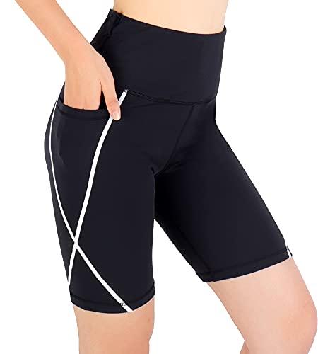Pantalones Corto Mujer Leggins de Yoga para Mujer Mallas Cortas de Deporte de Mujer Pantalón Corto Deportivo para Mujer Cintura Alta Ciclismo Correr Bolsillos Laterales Reflectantes (Negro, XL)