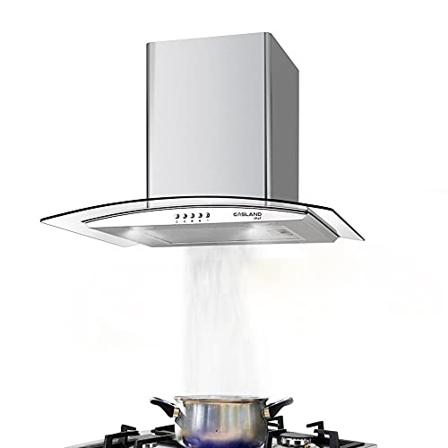 Gasland Campana extractora Chef GR60SP plateada, 60 cm, 350 m³/h, montaje en pared, 3 niveles, acero inoxidable con cristal, campana de pared con filtro de grasa de aluminio