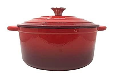 Professional 5.5 Quart Red Enameled Cast Iron Dutch Oven Perfect For Simmering Soups, Stews & Baking - Superior Quality