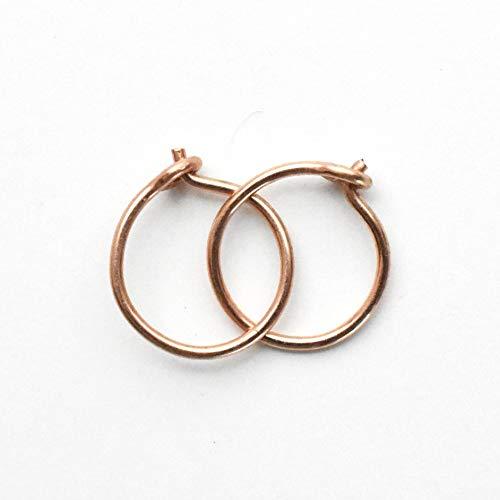 Tiny 14k Rose Gold Fill Hoops 8mm, 22 gauge Handmade Minimalist Earrings in Pink Gold. Hypoallergenic Huggie Hoops that Sit Close to Ears