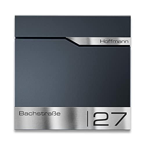 Metzler Briefkasten mit V2A Edelstahl-Namensschild Siebert - Design Wandbriefkasten inkl. Zeitungsfach - Postkasten in Anthrazit RAL 7016 - Größe: 37 x 37 x 10,5 cm