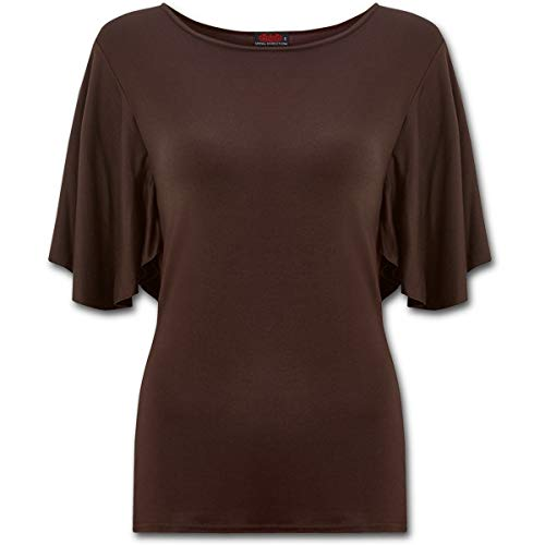 Spiral Direct Gothic Elegance - Boat Neck Bat Sleeve Top Chocolate Plus...