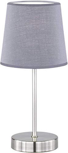 WOFI, 832 401 500 000, Lámpara de mesa Cesena 1 claro, gris, diámetro 14 cm, altura 32 cm, pantalla de tela