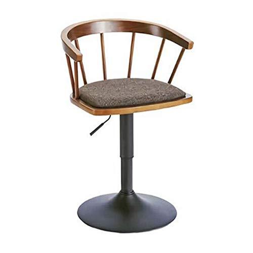 NAN liang Chaise de bar Dossier en bois massif Tabourets hauts Chaise pivotante relevable de maison Charge maximale 264.55 lb (couleur du bois/couleur noyer). (Couleur : Couleur du bois)