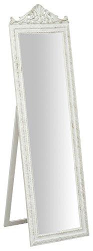 Biscottini Specchio, Specchiera Rettangolare da Terra, con Cornice di Finitura Colore Bianco Anticato, Shabby Chic, Bagno, Camera da Letto, L40xPR3xH140 cm. Stile Shabby Chic.