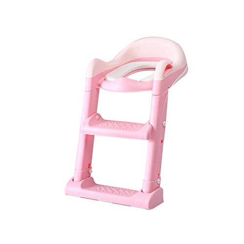 JIEER-C Ergonomische stoel, potje, toiletbril, toiletbril, kinderbabypan met ladder, gewatteerd comfort, antislip pedaal, praktisch inklapbaar opbergvak voor jong roze