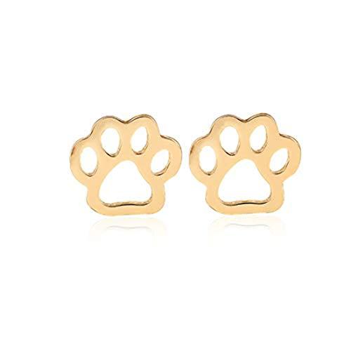 yichahu Pendientes de acero inoxidable con diseño de huellas de animales, diseño de pata de perro, gato