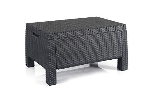 Keter 235783 Corfu Outdoor Storage Coffee Table Resin Patio Furniture Grey