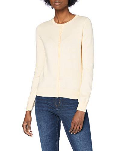 Amazon-Marke: MERAKI Baumwoll-Strickjacke Damen mit Rundhals, Elfenbein (Ivory), 36, Label: S