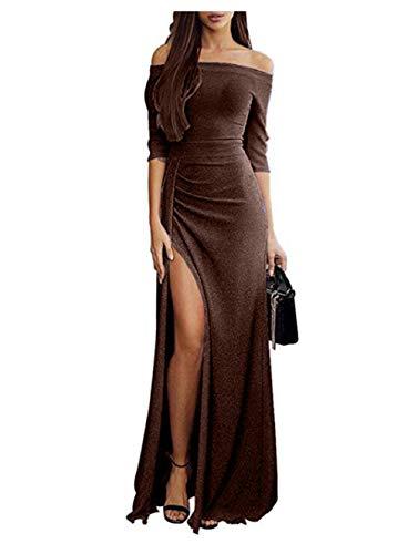 JCZX Vestido De Falda Larga De Primavera OtoñO para Mujer Vestido De Seda con Cuello Ranurado Y Cintura Dividida