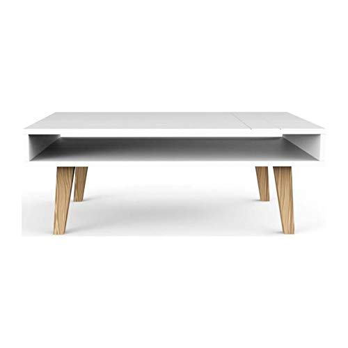 London salontafel, Scandinavisch, wit, massief grenen, 100 x 60 x 37,5 cm