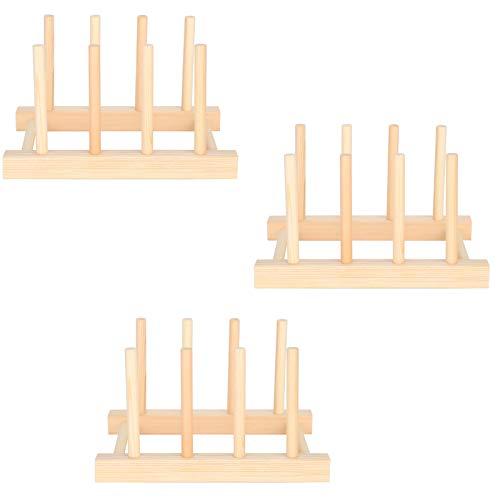3 uds, Estante de madera para platos, estante para platos, soporte para tapa de olla, organizador de armario de cocina para cuenco, taza, tabla de cortar, tapa de olla
