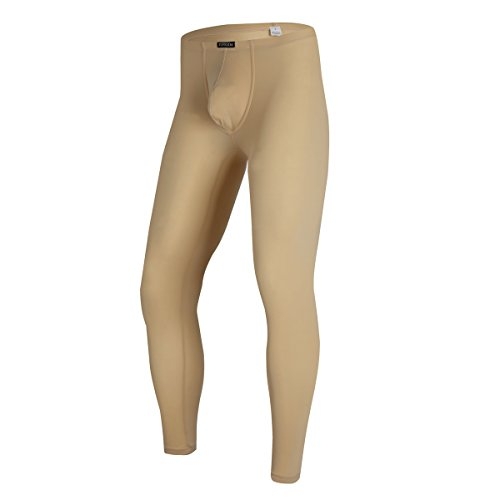 QiaTi Men's Tight Long Underwear Sexy Long Pants Sexy Tight Underwear Soft Compression Underwear for Men Long Leggings Pants Beige