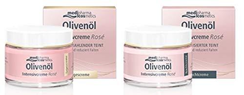 Olivenöl Intensivcreme Rosé Tagescreme und Nachtcreme im Set von Medipharma