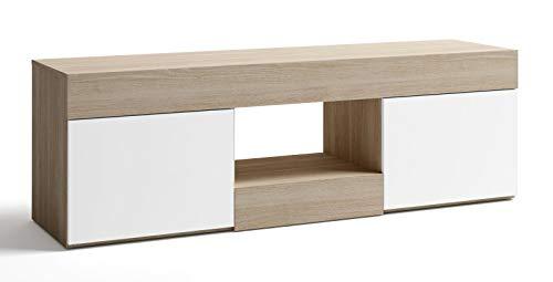 Miroytengo Mesa TV Estilo Moderno Color Blanco y Sable Mueble modulo 2 Puertas 150x49 cm