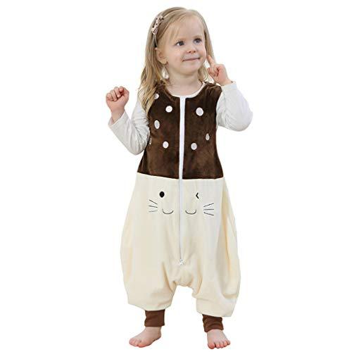 Livoral Kleinkind Kinder Baby Jungen Mädchen Cartoon Overall Nachtwäsche Split Leg Schlafsack(Braun,1-3 Jahre)