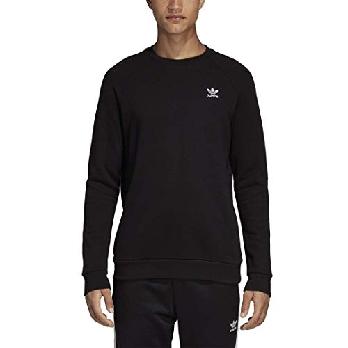 adidas Originals mens Trefoil Essentials Crewneck Sweatshirt Black Small