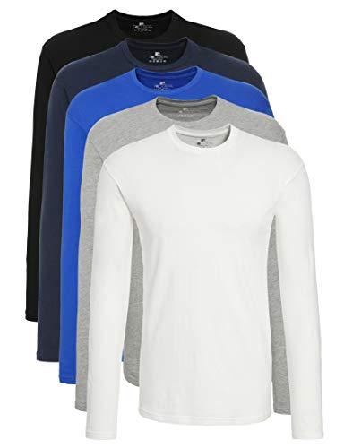 Lower East Herren Langarm-Shirt mit Rundhalsausschnitt aus 100% Baumwolle, 5er Pack, Mehrfarbig (Schwarz/Weiß/ Grau/Dunkelblau/Blau Royal), XXL
