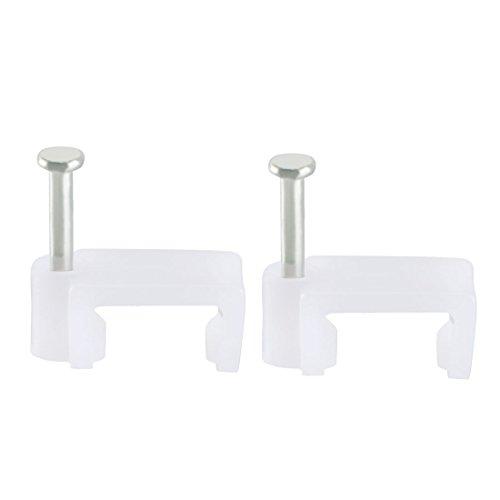 Sourcing map 200 unidades cable plano clip coaxial clavo clavos clips 10 mm blanco