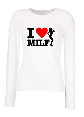 T-Shirt para Las Mujeres Manga Larga Blanca T1052 i Love Milf