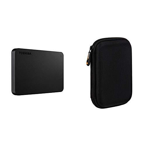 Toshiba HDTB420EK3AA Canvio Basics Tragbare Externe Festplatte USB 3.0, 2TB schwarz & Amazon Basics Schutzhülle für Externe Festplatten
